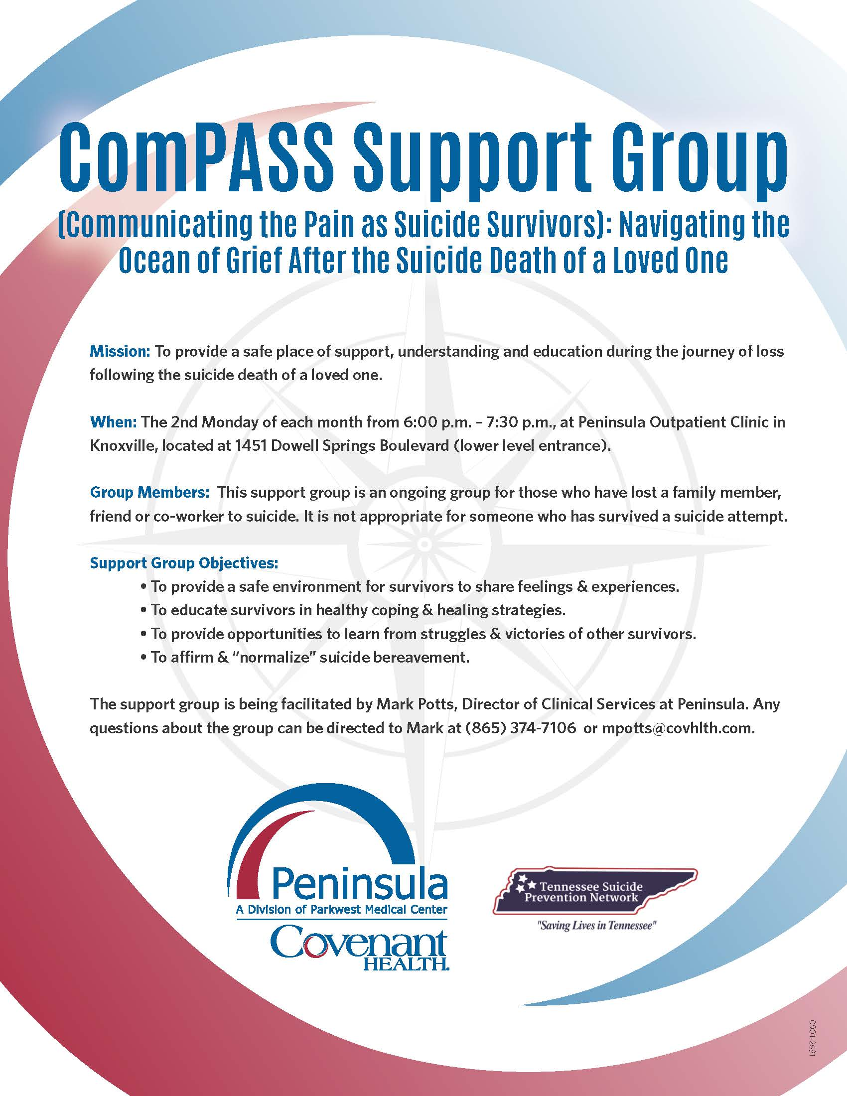 ComPASS Support Group Flier Listing all details of monthly meetings.